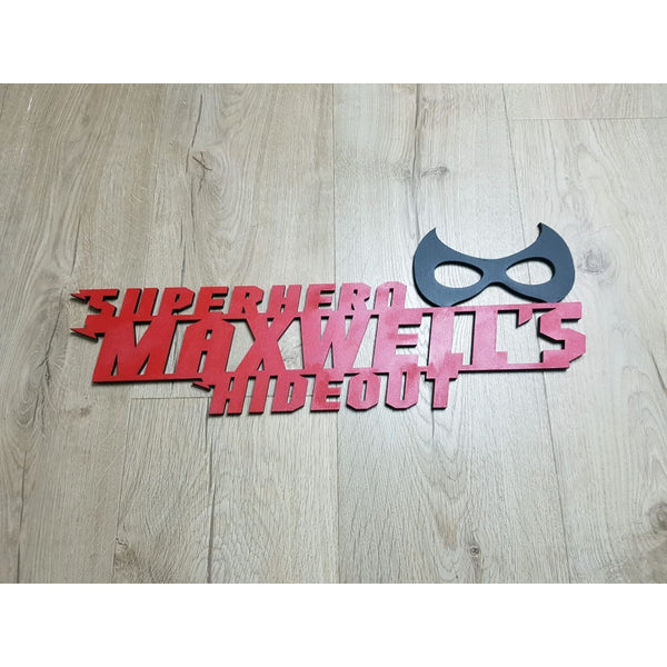 Superhero Hideout with Mask and Free Personalistion - Laser Cut Name Plaque