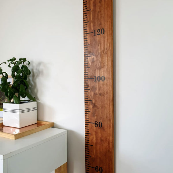 Teak Stained Pine Wooden Height Chart - Personalised Growth Ruler - Height Chart