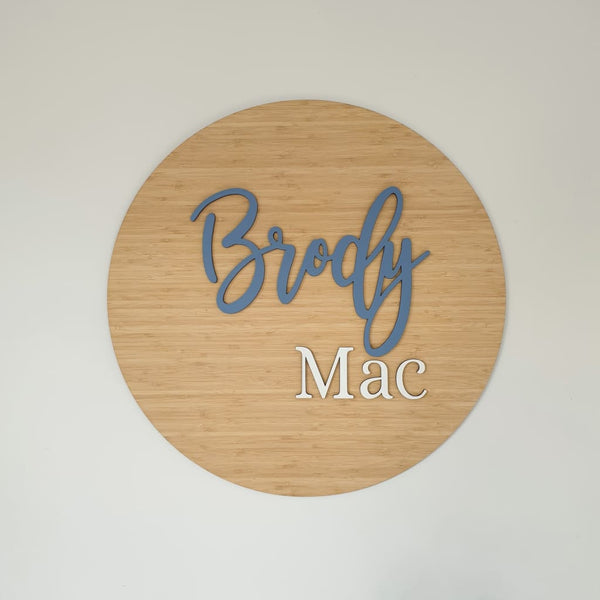 Two Names On Bamboo Circle - Laser Cut Name Plaque