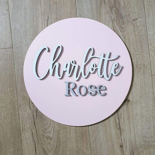 Two Names On Circle Plaque - pink white and grey