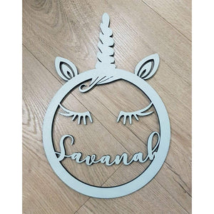 Unicorn Face With Personalised Name - Laser Cut Name Plaque