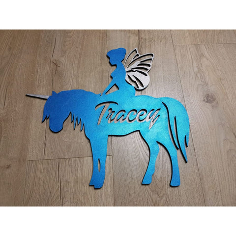 Unicorn Fairy Name Plaque With Free Personalisation - Laser Cut Name Plaque