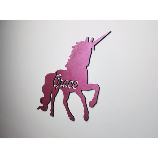 Unicorn Name Wooden Plaque with Free Personalisation - Laser Cut Name Plaque