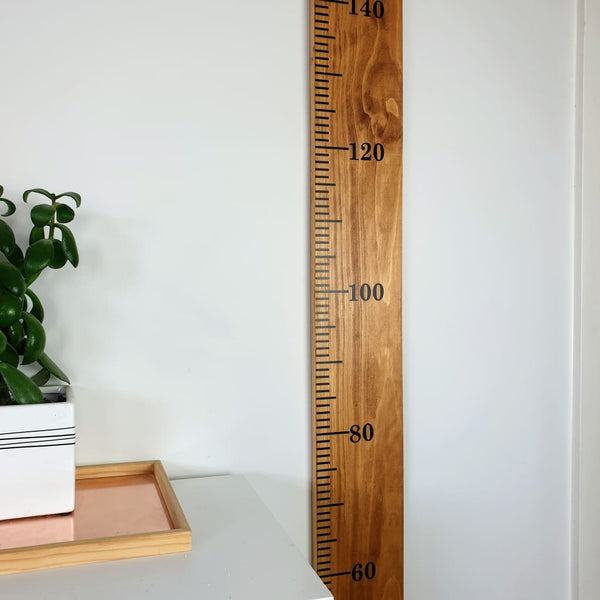 Walnut Stained Pine Wooden Height Chart - Personalised Growth Ruler - Height Chart