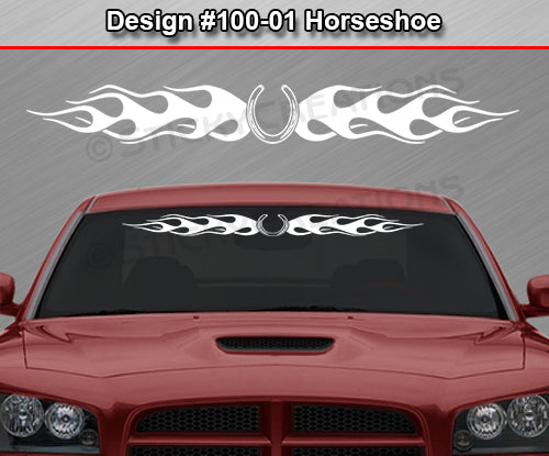 "Design #100 Horseshoe - Windshield Window Flame Flaming Vinyl Sticker Decal Graphic Banner 36""x4.25""+"