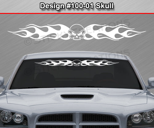 "Design #100 Skull - Windshield Window Flame Flaming Vinyl Sticker Decal Graphic Banner 36""x4.25""+"