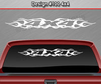 "Design #100 4x4 - Windshield Window Flame Flaming Vinyl Sticker Decal Graphic Banner Truck 36""x4.25""+"