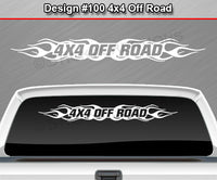 "Design #100 4x4 Off Road - Windshield Window Flame Flaming Vinyl Sticker Decal Graphic Banner Truck 36""x4.25""+"