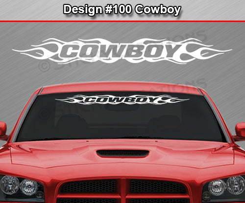 "Design #100 Cowboy - Windshield Window Flame Flaming Vinyl Sticker Decal Graphic Banner 36""x4.25""+"