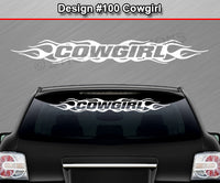"Design #100 Cowgirl - Windshield Window Flame Flaming Vinyl Sticker Decal Graphic Banner 36""x4.25""+"