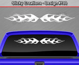 "Design #100 - 36""x4.25"" + Windshield Window Flame Flaming Vinyl Sticker Decal Graphic Banner"