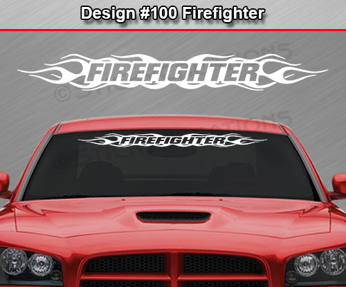 "Design #100 Firefighter - Windshield Window Flame Flaming Vinyl Sticker Decal Graphic Banner 36""x4.25""+"