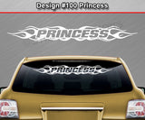 "Design #100 Princess - Windshield Window Flame Flaming Vinyl Sticker Decal Graphic Banner 36""x4.25""+"