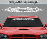 "Design #100 Supercharged - Windshield Window Flame Flaming Vinyl Sticker Decal Graphic Banner 36""x4.25""+"