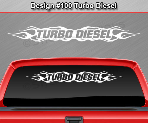"Design #100 Turbo Diesel - Windshield Window Flame Flaming Vinyl Sticker Decal Graphic Banner 36""x4.25""+"
