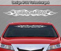 "Design #100 Turbocharged - Windshield Window Flame Flaming Vinyl Sticker Decal Graphic Banner 36""x4.25""+"