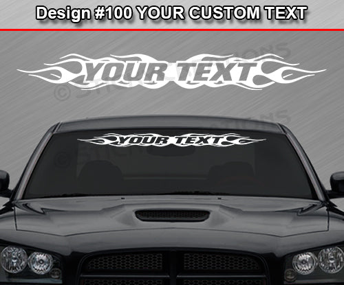 "Design #100 Your Text - Custom Personalized Windshield Window Flame Flaming Vinyl Sticker Decal Graphic Banner 36""x4.25""+"