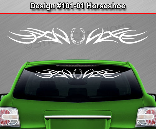 "Design #101 Horseshoe - Windshield Window Tribal Accent Vinyl Sticker Decal Graphic Banner 36""x4.25""+"