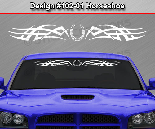 "Design #102 Horseshoe - Windshield Window Tribal Accent Vinyl Sticker Decal Graphic Banner 36""x4.25""+"