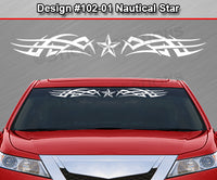 "Design #102 Nautical Star - Windshield Window Tribal Accent Vinyl Sticker Decal Graphic Banner 36""x4.25""+"