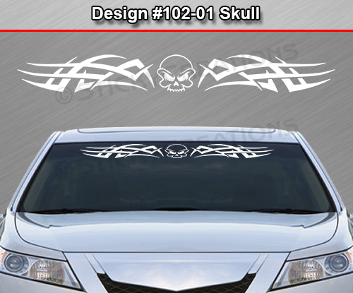 "Design #102 Skull - Windshield Window Tribal Accent Vinyl Sticker Decal Graphic Banner 36""x4.25""+"