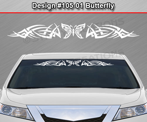 "Design #105 Butterfly - Windshield Window Tribal Spikes Vinyl Sticker Decal Graphic Banner 36""x4.25""+"