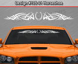 "Design #105 Horseshoe - Windshield Window Tribal Spikes Vinyl Sticker Decal Graphic Banner 36""x4.25""+"