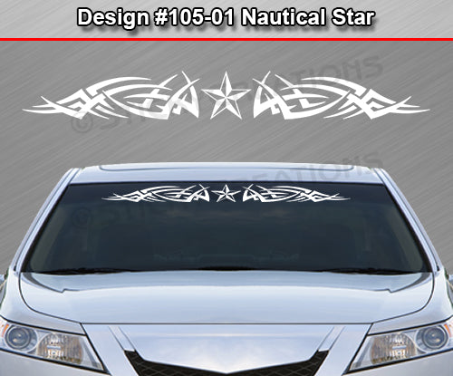 "Design #105 Nautical Star - Windshield Window Tribal Spikes Vinyl Sticker Decal Graphic Banner 36""x4.25""+"