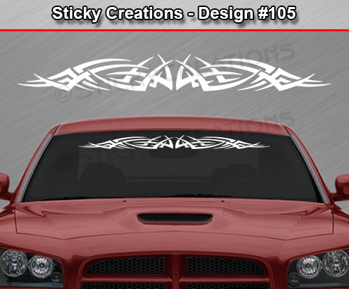 "Design #105 - 36""x4.25"" + Windshield Window Tribal Spikes Vinyl Sticker Decal Graphic Banner"