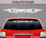 "Design #106 Cowgirl - Windshield Window Tribal Vinyl Sticker Decal Graphic Banner 36""x4.25""+"