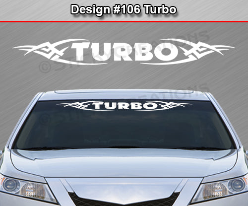 "Design #106 Turbo - Windshield Window Tribal Vinyl Sticker Decal Graphic Banner 36""x4.25""+"