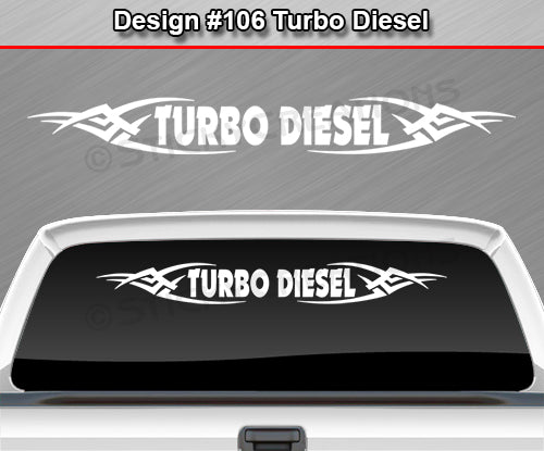 "Design #106 Turbo Diesel - Windshield Window Tribal Vinyl Sticker Decal Graphic Banner 36""x4.25""+"