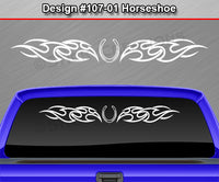 "Design #107 Horseshoe - Windshield Window Tribal Flames Vinyl Sticker Decal Graphic Banner 36""x4.25""+"