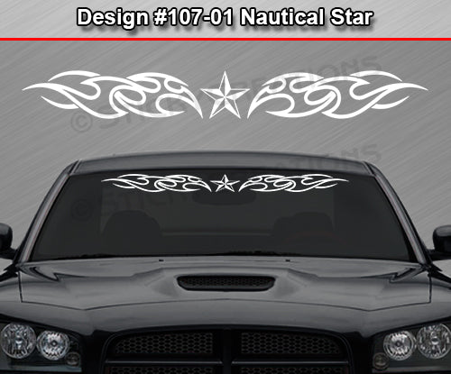 "Design #107 Nautical Star - Windshield Window Tribal Flames Vinyl Sticker Decal Graphic Banner 36""x4.25""+"