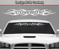 "Design #108 Cowboy - Windshield Window Tribal Flame Vinyl Sticker Decal Graphic Banner 36""x4.25""+"