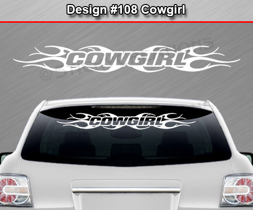 "Design #108 Cowgirl - Windshield Window Tribal Flame Vinyl Sticker Decal Graphic Banner 36""x4.25""+"