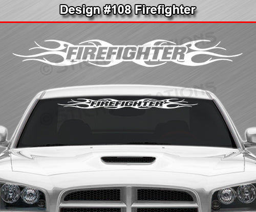 "Design #108 Firefighter - Windshield Window Tribal Flame Vinyl Sticker Decal Graphic Banner 36""x4.25""+"