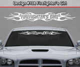 "Design #108 Firefighter's Girl - Windshield Window Tribal Flame Vinyl Sticker Decal Graphic Banner 36""x4.25""+"