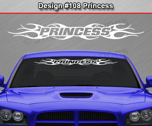 "Design #108 Princess - Windshield Window Tribal Flame Vinyl Sticker Decal Graphic Banner 36""x4.25""+"