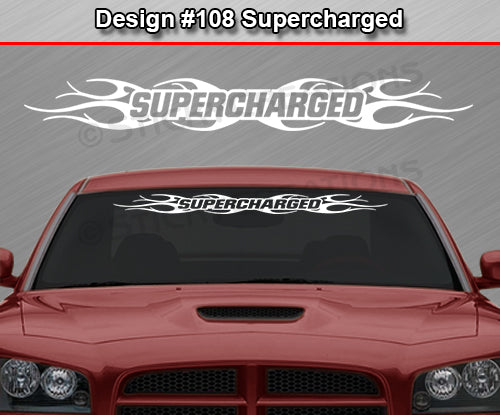 "Design #108 Supercharged - Windshield Window Tribal Flame Vinyl Sticker Decal Graphic Banner 36""x4.25""+"