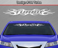 "Design #108 Turbo - Windshield Window Tribal Flame Vinyl Sticker Decal Graphic Banner 36""x4.25""+"