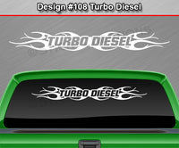 "Design #108 Turbo Diesel - Windshield Window Tribal Flame Vinyl Sticker Decal Graphic Banner 36""x4.25""+"