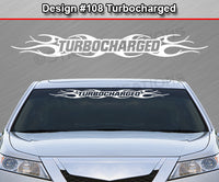 "Design #108 Turbocharged - Windshield Window Tribal Flame Vinyl Sticker Decal Graphic Banner 36""x4.25""+"