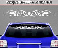 "Design #108 Your Text - Custom Personalized Windshield Window Tribal Flame Vinyl Sticker Decal Graphic Banner 36""x4.25""+"