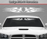 "Design #109 Horseshoe - Windshield Window Tribal Flames Vinyl Sticker Decal Graphic Banner 36""x4.25""+"