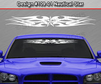 "Design #109 Nautical Star - Windshield Window Tribal Flames Vinyl Sticker Decal Graphic Banner 36""x4.25""+"