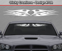 "Design #109 - 36""x4.25"" + Windshield Window Tribal Heart Vinyl Sticker Decal Graphic Banner"