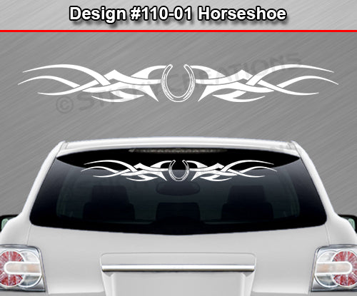 "Design #110 Horseshoe - Windshield Window Tribal Accent Vinyl Sticker Decal Graphic Banner 36""x4.25""+"