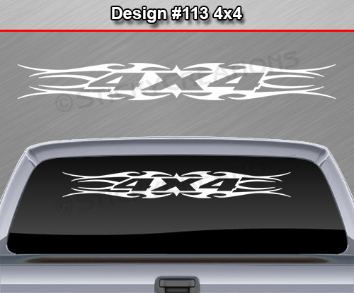 "Design #113 4x4 - Windshield Window Tribal Flame Vinyl Sticker Decal Graphic Banner Truck 36""x4.25""+"