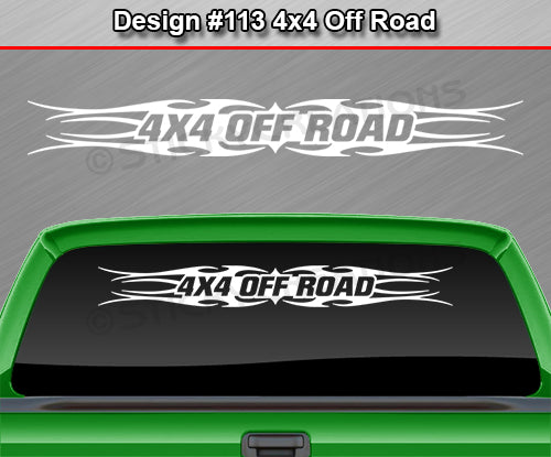 "Design #113 4x4 Off Road - Windshield Window Tribal Flame Vinyl Sticker Decal Graphic Banner Truck 36""x4.25""+"